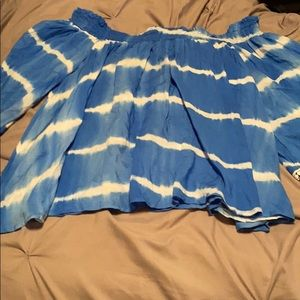 Tops - Off the shoulder blue and white shirt